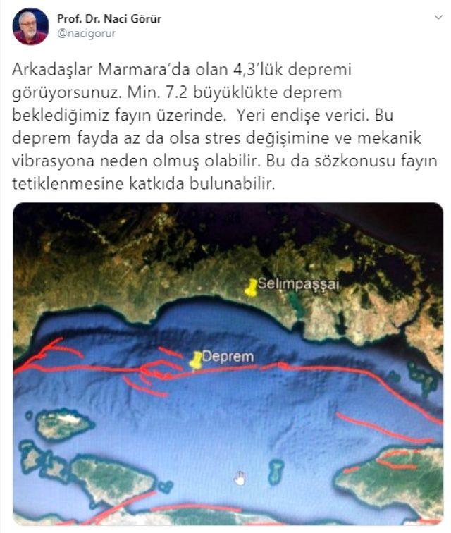 Prof. Dr. Naci Görür: Depremin yeri endişe verici, 7.2 büyüklükte deprem beklediğimiz fayı tetikleyebilir