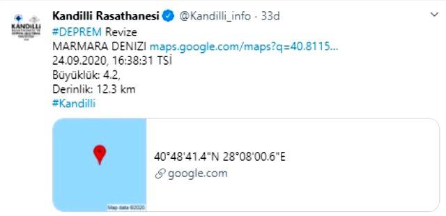 Son Dakika: İstanbul'da 4.2 büyüklüğünde deprem
