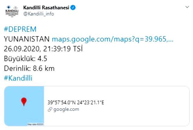 Gökçeada açıklarında 4.3 büyüklüğünde deprem