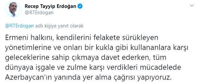 Son Dakika! Ermenistan'ın saldırısı sonrasında Cumhurbaşkanı Erdoğan'dan Azerbaycan'a destek mesajı