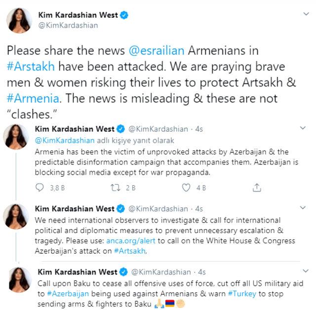 Ermenistan için destek isteyen Kim Kardashian'dan Türkiye ve Azerbaycan'nı hedef alan skandal paylaşım