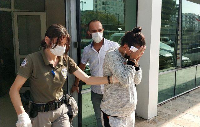 Gasptan tutuklanan 6.5 aylık hamile kadın adliyeden çıkarken yüzünü kapattı