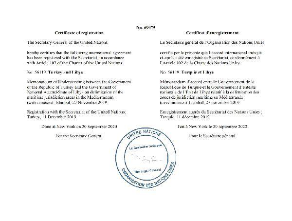 BM, Türkiye ile Libya arasındaki deniz sınırı anlaşmasını onayladı