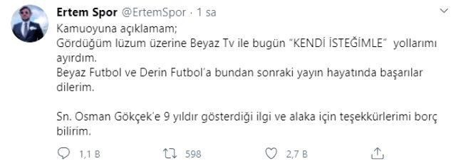 Ünlü sunucu Ertem Şener, Beyaz TV'den istifa etti