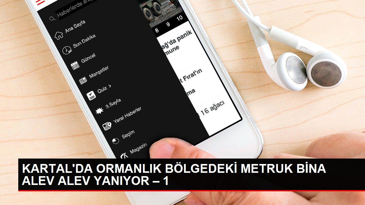 KARTAL'DA ORMANLIK BÖLGEDEKİ METRUK BİNA ALEV ALEV YANIYOR-1