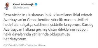 Kemal Kılıçdaroğlu: Kılıçdaroğlu, Ermenistan'ın Gence'de sivilleri hedef alan saldırısını kınadı