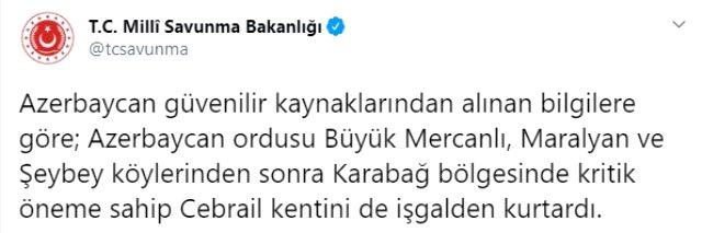 Son Dakika! Azerbaycan ordusu kritik öneme sahip Cebrail kentini işgalden kurtardı