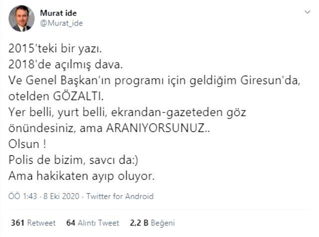Meral Akşener'in basın danışmanı Murat İde otel odasında gözaltına alındı