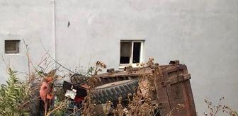 Yeniceköy Mahallesi: Freni boşalan traktör şarampole yuvarlandı, sürücü atlayarak kurtuldu