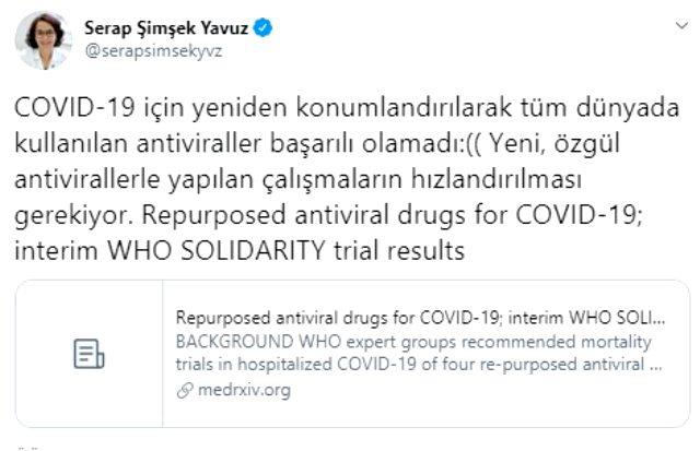 Bilim Kurulu Üyesi Prof. Dr. Serap Şimşek Yavuz: Koronavirüs tedavisinde kullanılan antiviraller başarılı olmadı