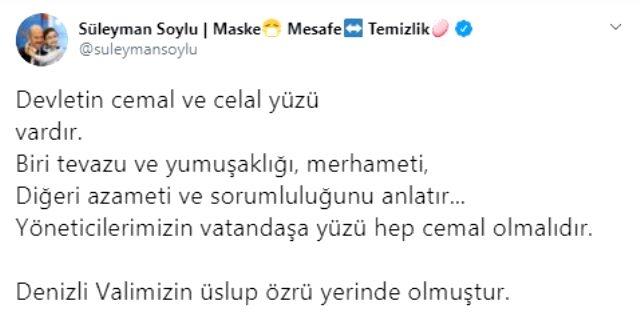 İçişleri Bakanı Soylu, Denizli Valisinin davranışını değerlendirdi: Devletin cemal ve celal yüzü vardır