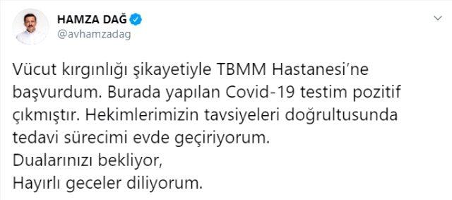 AK Parti Genel Başkan Yardımcısı Hamza Dağ'ın koronavirüs testi pozitif çıktı