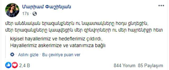 Paşinyan'ın kızı Ermenileri delirtti: Hayallerimiz ve hedeflerimiz başarısız oldu