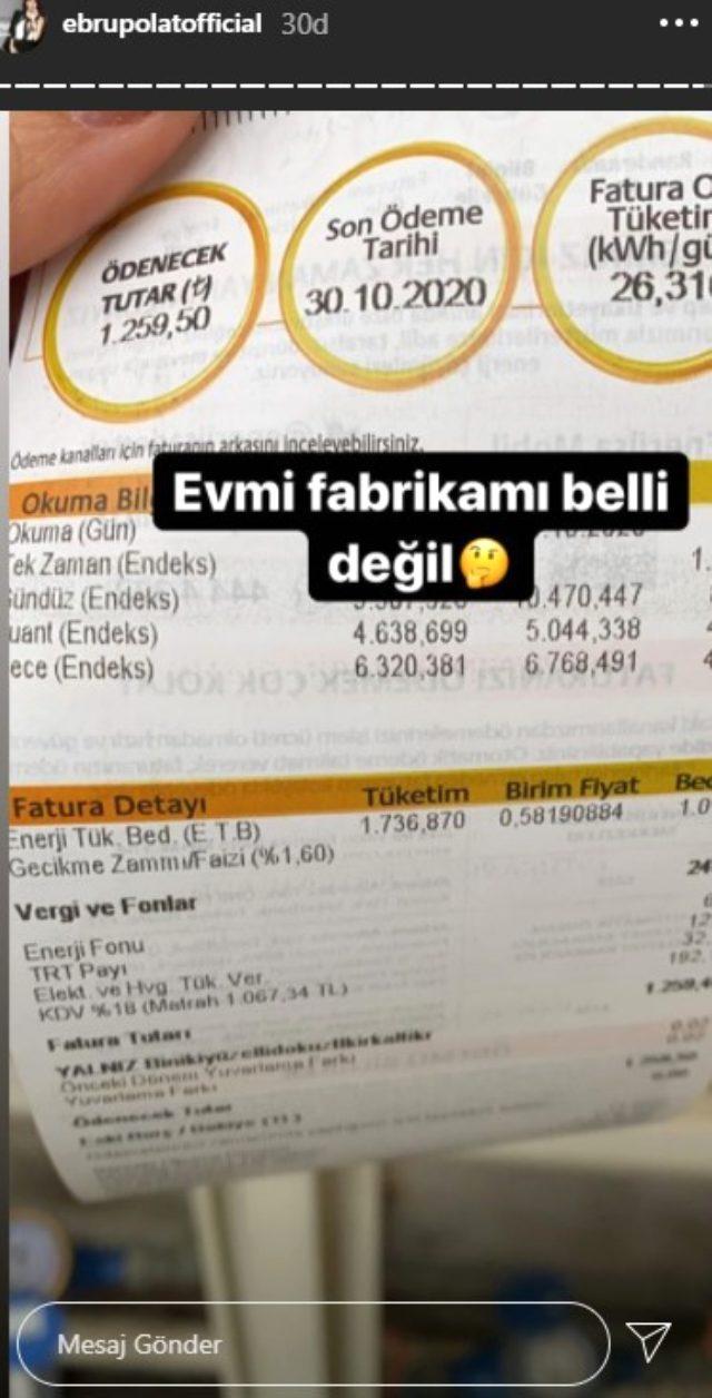 Şarkıcı Ebru Polat, evine gelen elektrik ve doğal gaz faturasına veryansın etti