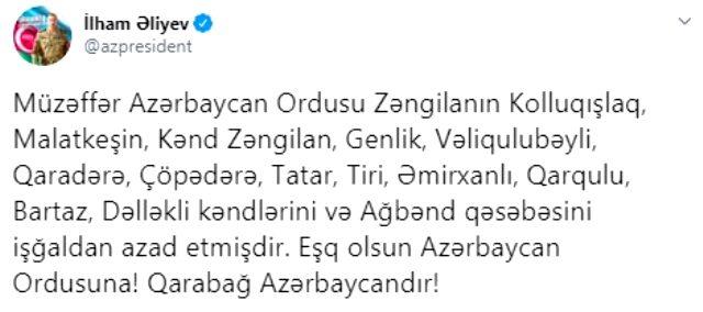 Karabağ'ın İran sınırı tamamıyla Azerbaycan kontrolüne geçti