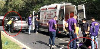 Kazada yaralanan kuryeye yardım etmek yerine aracının paspasını temizledi