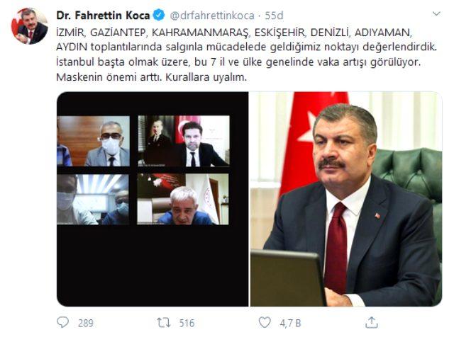 Sağlık Bakanı Koca'dan 7 kritik il için gece yarısı paylaşımı: Vakalarda artış var, kurallara uyalım