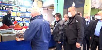Düzce: Vali Atay'dan pazar yerinde Kovid-19 tedbirleri denetimi