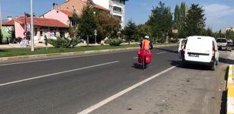 Uşak: Ankara'ya pedal çeviren bisikletli Banaz'a ulaştı