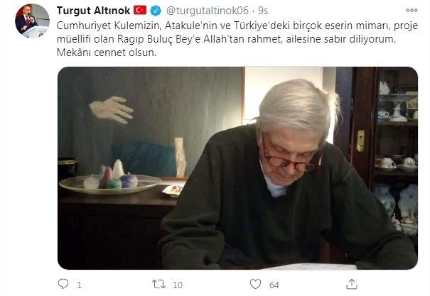 Keçiören Belediye Başkanı Altınok'tan Mimar Ragıp Buluç için başsağlığı mesajı