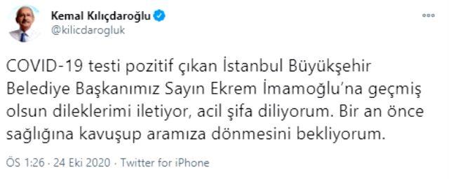 Kılıçdaroğlu'ndan koronavirüse yakalanan İmamoğlu hakkında ilk açıklama