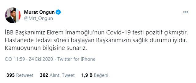 Son Dakika! İBB Başkanı Ekrem İmamoğlu'nun koronavirüs testi pozitif çıktı