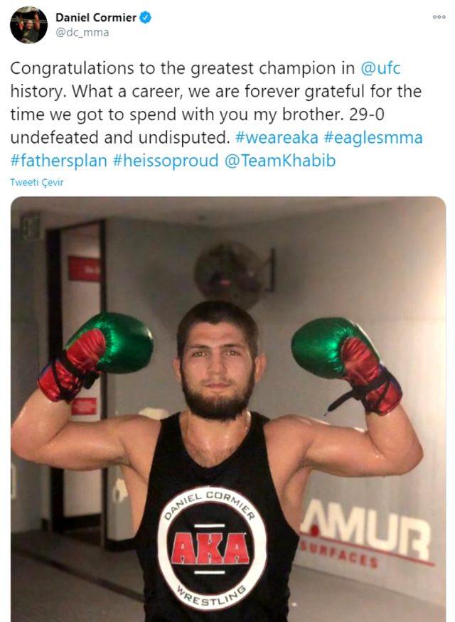 Emekli olan Khabib Nurmagomedov'a ünlü sporculardan tebrik mesajı yağdı