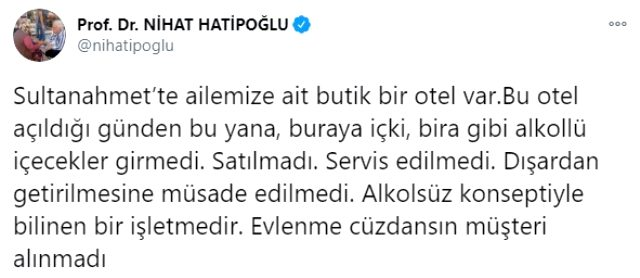 Nihat Hatipoğlu'ndan 'Otelinde içki satılıyor' iddiasına yanıt: Asla satılmadı, aklınızca benden intikam aldınız