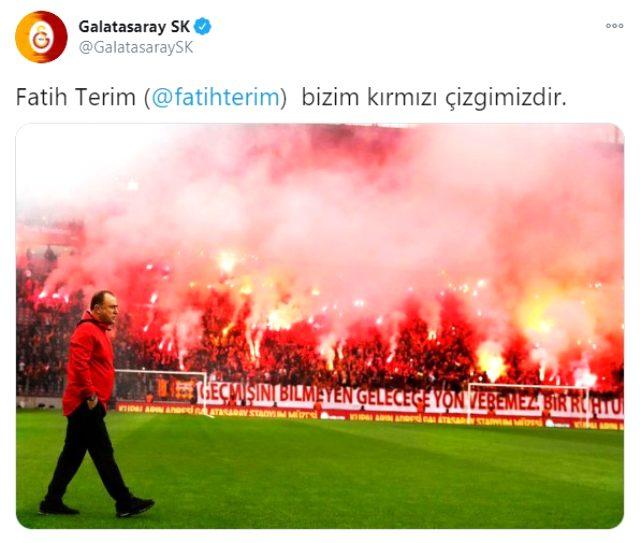 Galatasaray'dan Fatih Terim tweeti: Bizim kırmızı çizgimizdir