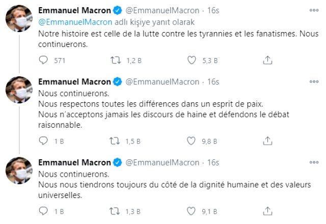 Macron, İslam'a yönelik açıklamaları sonrası başlatılan boykot üzerine 3 dilde tweet attı