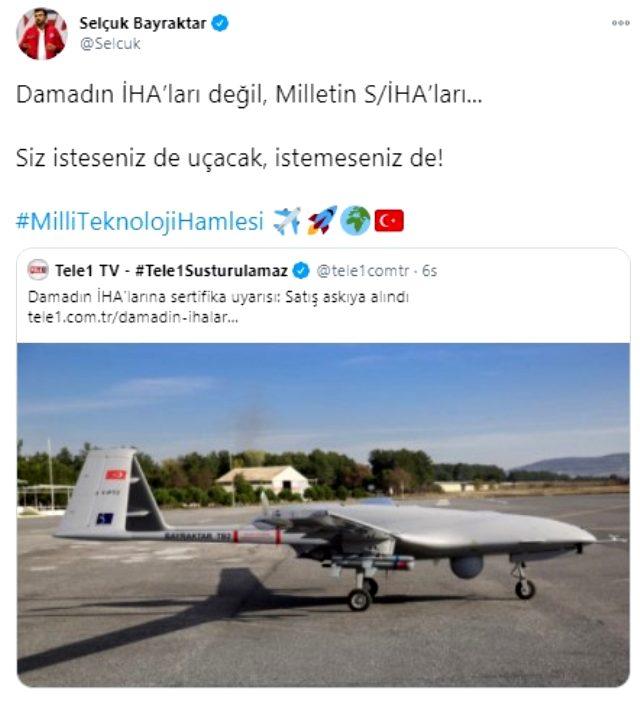 Selçuk Bayraktar'dan Tele1 TV'nin İHA'larla ilgili haberine sert tepki: Siz isteseniz de istemeseniz de uçacak