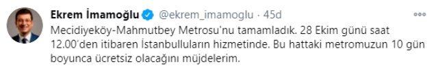 Yarın açılışı yapılacak Mecidiyeköy-Mahmutbey metro hattı böyle test edildi