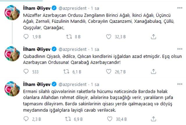 Azerbaycan ordusu 13 köyü daha Ermenistan'ın işgalinden kurtardı! Aliyev, Berde için intikam yemini etti