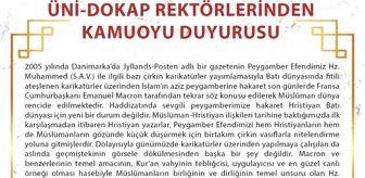 Gaziosmanpaşa Üniversitesi: ÜNİ-DOKAP rektörlerinden Macron ve karikatür saldırılarına tepki