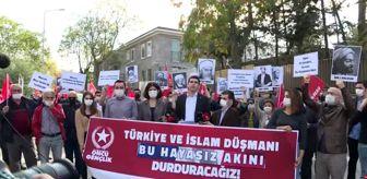 Demokratik Birlik Partisi: Son dakika gündem: Vatan Partililer, Macron ve Charlie Hebdo dergisini Fransa'nın Ankara Büyükelçiliği önünde protesto etti