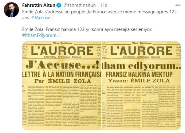 İletişim Başkanı Altun, Emile Zola'nın 122 yıllık mektubu ile İslam karşıtlığı yapan Fransa'ya seslendi