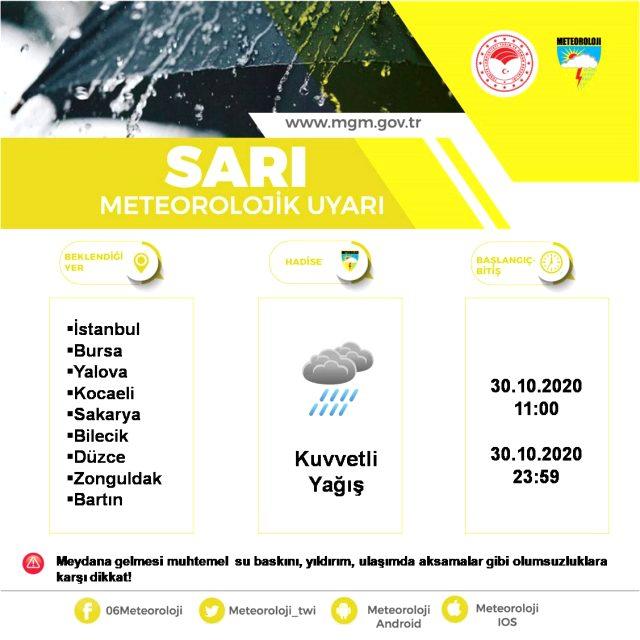 Meteoroloji, 9 il için sarı kodlu kuvvetli sağanak uyarısında bulundu