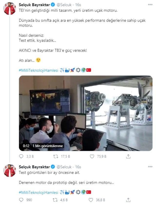 Selçuk Bayraktar'dan yerli üretim uçak motoruna ilişkin heyecanlandıran paylaşım: Dünyanın en iyisi