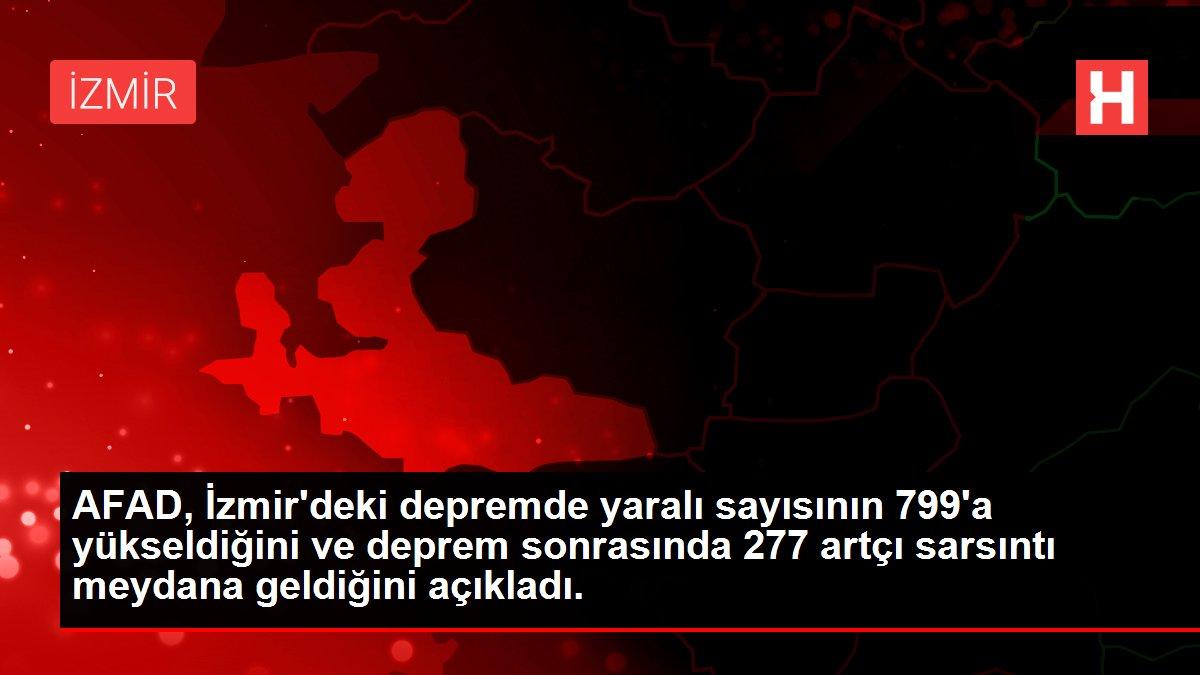 Son dakika haberleri   AFAD, İzmir'deki depremde yaralı sayısının 799'a yükseldiğini ve deprem sonrasında 277 artçı sarsıntı meydana geldiğini açıkladı.