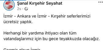 Kırşehir: Kırşehir'de otobüs firması İzmir seferlerini ücretsiz yaptı