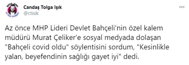 Devlet Bahçeli'nin koronaya yakalandığı iddiasını özel kalem müdürü yalanladı: Beyefendinin sağlığı gayet iyi
