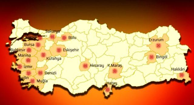İşte Türkiye'de aktif fay hatları üzerine yer alan 18 kentimiz