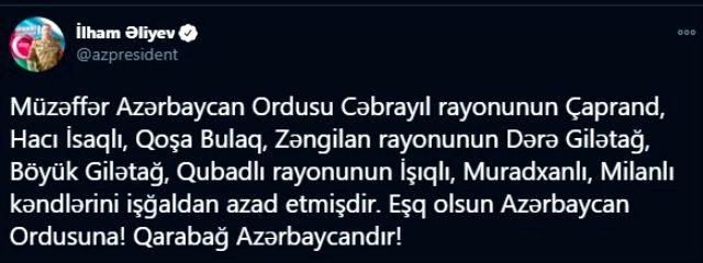 Son Dakika! Aliyev: Azerbaycan ordusu 8 köyü daha Ermenistan işgalinden kurtardı