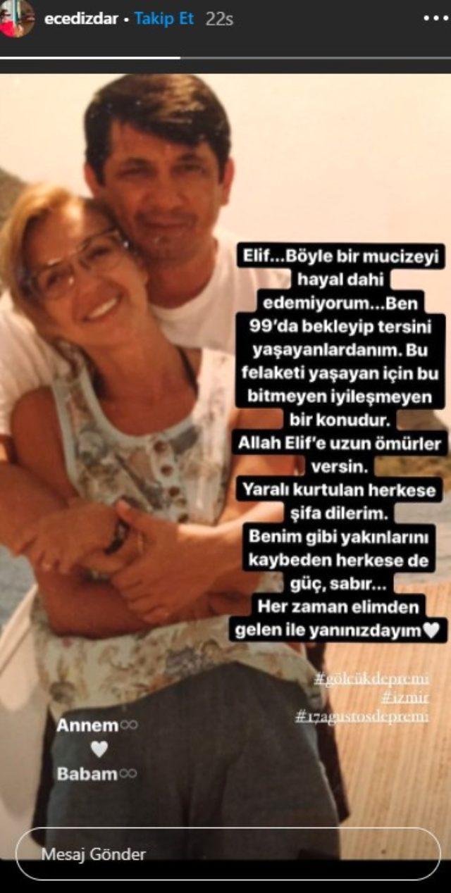 99 depreminde ailesini kaybeden Ece Dizdar'ın Elif'le alakalı paylaşımı yürek yaktı