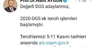 Dgs: 2020 DGS ek tercih işlemleri başladı