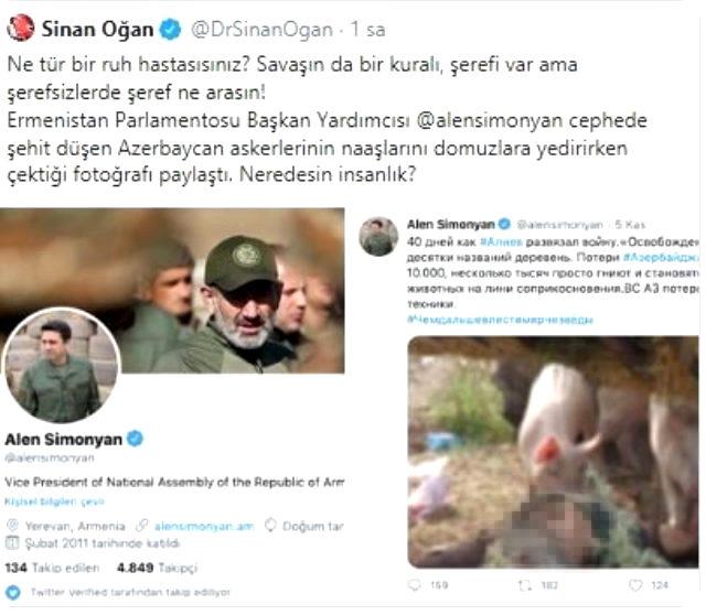 Ermeni siyasetçiden alçak paylaşım! Azerbaycanlı şehit askerlerin naaşını domuzlara yedirdiler