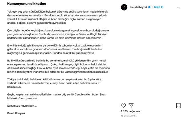 Son Dakika: Hazine ve Maliye Bakanı Berat Albayrak, sağlık sorunları nedeniyle görevinden istifa etti