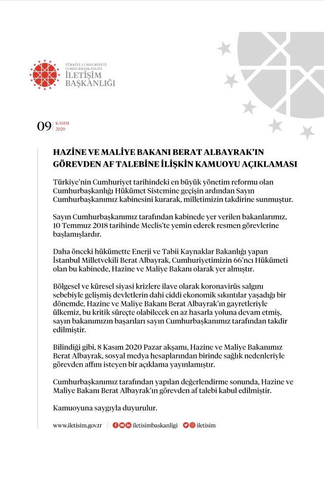 Son Dakika: Hazine ve Maliye Bakanı Berat Albayrak'ın istifası kabul edildi