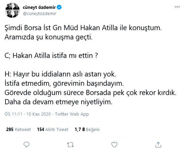 Borsa İstanbul Genel Müdürü Hakan Atilla, istifa ettiği iddialarını yalanladı