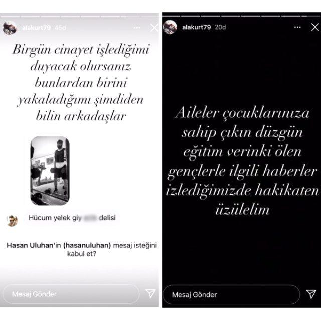 Ünlü oyuncu Mehmet Akif Alakurt, Instagram'da bir takipçisini açık bir şekilde ölümle tehdit etti